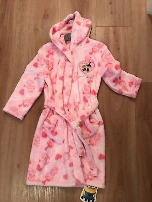 Mothercare Minion Pink Heart Robe Girl Girls Dressing Gown Nightwear Size 4 -6 Y
