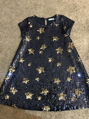 JOHN LEWIS Girls Navy & Gold Sequin Dress age 6 years