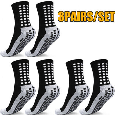 3Pair Anti Slip Non Skid Slipper Hospital Socks with grips for Adults Men Women