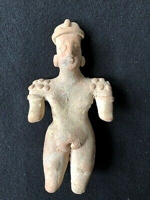 Pre-Columbian Colima Female Figure 100 BC - 250 AD, solid clay.  NICE!