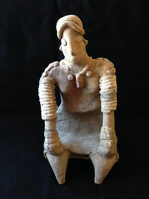 Pre-Columbian Colima Seated Female Figure, ca. 200 BC - 250 AD. Displays Well!