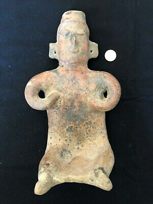 Pre-Columbian Colima Seated Female Figure 100 BC - 250 AD,  VERY LARGE - NICE!