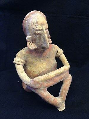 Pre-Columbian Jalisco, Mexico,Seated Male Figure, 200 BC - 250 AD,  NICE FIGURE!