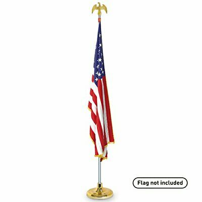Telescoping Indoor Flag Pole Kit w/ Base Stand and Gold American Eagle Topper