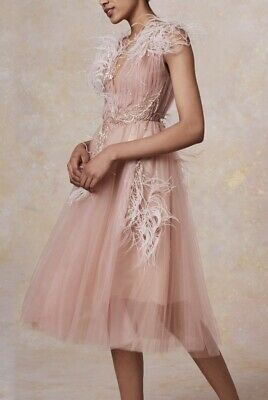 NEW Marchesa Ostrich Feather Blush Plunging V Tulle Cocktail NUDE Dress 10