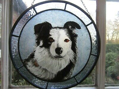 Superb Hand Painted Stained Leaded Glass Collie Dog Window Hanging Roundel