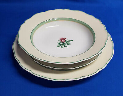 NEW Set Wedgwood ENGLISH COTTAGE CREAM 1 EACH Dinner, Salad and Rimmed Soup Bowl