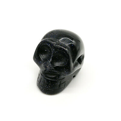 Black Nature Skull Carved Quartz Crystal Stone Skull Healing Figurines Gift 0.8""