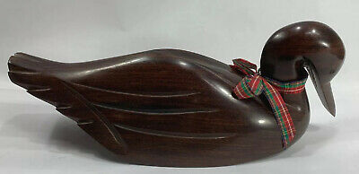 Vintage Iron Dark Wood Wooden Carved Duck Decoy Decor
