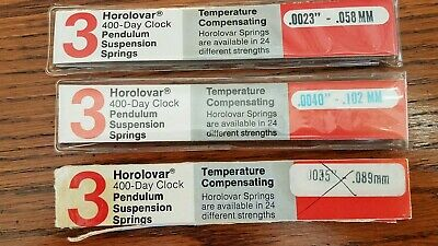Horolovar 400- Day Clock Pendulum Suspension Spring 3 PARTIAL  Packs COMBO