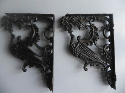 HEAVY Antique Cast Iron Victorian Shelf Brackets With BIRDS 10 Pounds!