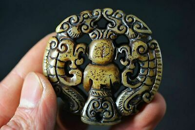 Chinese Old Jade Hand Carved *People&Dragon* Pendant H16