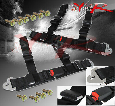 """For 2"""" Pair Nylon 4Pt Harness Racing Seat Belt Safety Buckle Quick Release Lock"""