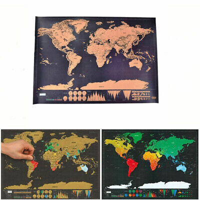World Map Deluxe Scratch Off  Poster Log Giant Map Of The World Gift Journal