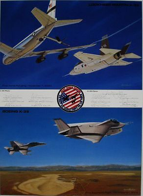 Joint Strike Fighter USAF F-35 F-22 ARTIST PROOF PRINT Signed by 13 Test Pilots