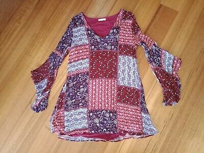 Little Lies Ladies Size 14 Rayon Dress Above Knee Long Sleeve