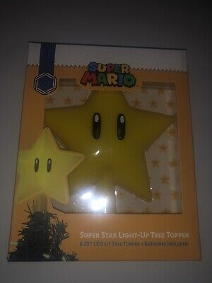 Nintendo Super Mario Super Star Light Up Christmas Tree Topper Collectible 6.25""