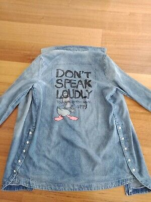 Size Medium Ladies Oversized Denim Style Shirt With Back Rear Duck Feature...
