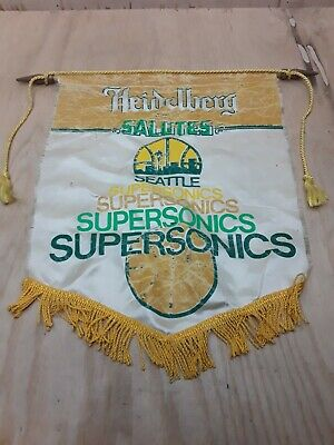 Vintage Heidelberg Beer Salutes Seattle Supersonics Basketball Pennent