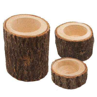 Fm_ Wooden Bark Stand Candlestick Succulent Plants Flower Pot Ornament Decor Sma