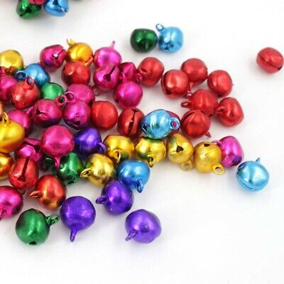 100pcs 10mm Jingle Bells Loose Beads Party Decoration Jewelry Festival Ornaments
