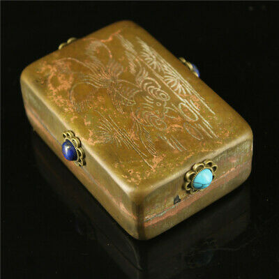 "3.54"" Chinese pure copper carved fish inlay Turquoise gem Ink cartridge ink box"