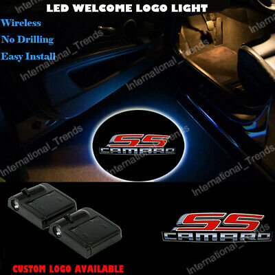 SS Car Door Welcome Projector Ghost Shadow Light Wireless For Chevy Camaro