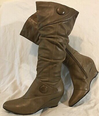 Oasis Light Brown Mid Calf Leather Lovely Boots Size 36 (471QQ)