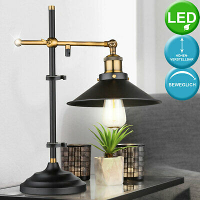 Vintage LED Table Light Living Room Old Brass Dimmer Lamp Height Adjustable new