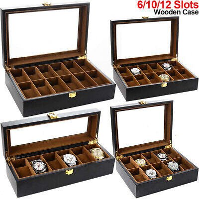 6/10/12 Slots Wooden Watch Jewelry Display Case Collection Storage Holder Box