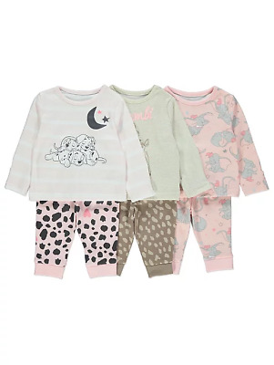 Disney Baby Girls Dumbo Bambi 101 Dalmations Pyjamas Pack of 3 BNWT