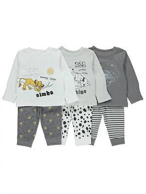 Disney Baby Boys Dumbo The Lion King 101 Dalmations Pyjamas Pack of 3 BNWT