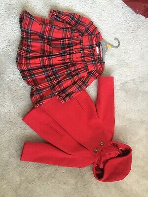 Girls Next Red Coat And Tartan Dress Age 1.5 - 2 Years