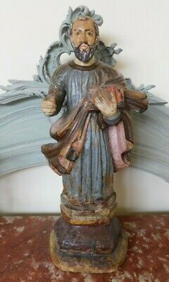 Antique French Large Polychrome Hand Carved Wood St Peter Statue, 17th Century