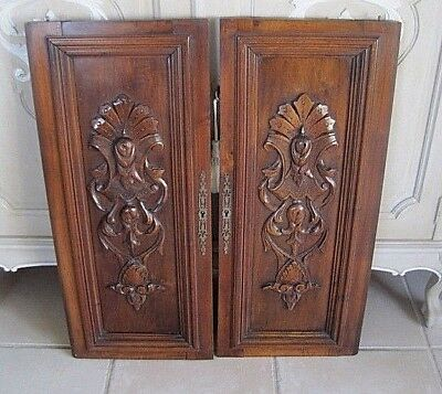 Pair Antique French Carved Wood Doors Highly Ornate Panels Acanthus Leaf Design