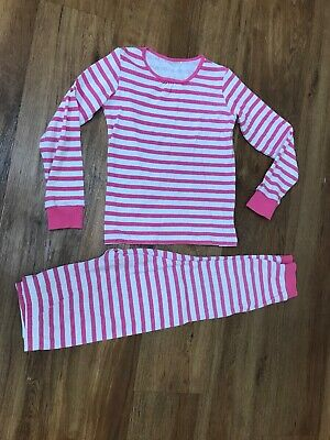 Girl's Pink Stripy Next Thermal PJs Pajamas Age 8,9,10. Good Condition
