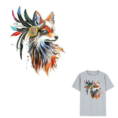 1pc fox Iron on Stickers Washable Heat Transfer Patches For T-shirt Applique IO