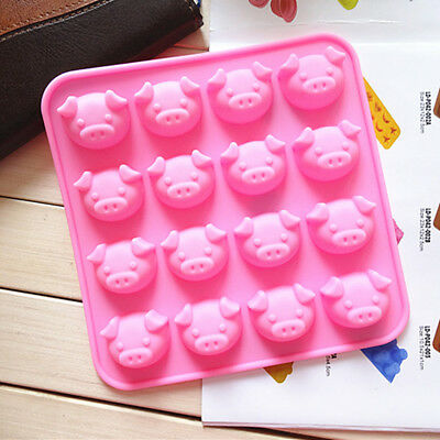 Pig Shape Chocolate Mold Cake Decoration Silicone Jelly Candy Ice Mold  X