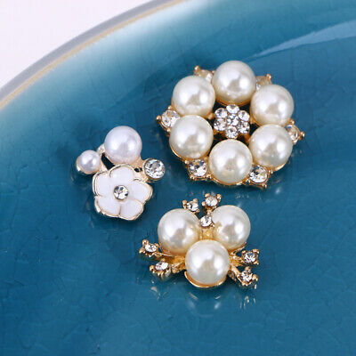 30 Pcs Flower Buttons Pearl Shining Brooch Flower Embellishment for DIY Crafts