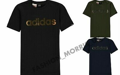 New Adidas Kids Boys Linear Foil T Shirt Junior Crew Neck Tee Top Short Sleeve
