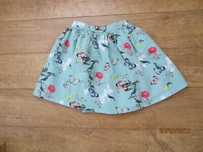 7yrs john lewis aqua skirt with butterflies / flowers on worn once fully lined