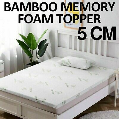 Bamboo Memory Foam Mattress Topper Thick With Zipped Cover