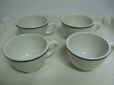 Homer Laughlin HLC USA Restaurant Ware China 4 Coffee  Cups White/Black stripe