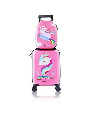 Unicorn Kids Carry on Luggage Set with Spinner Wheels Girls Travel Suitcase