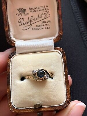 Antique Art Deco 18ct Gold Sapphire & Diamond Cross Over Ring