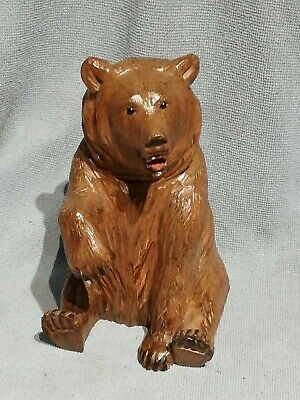Antique Black Forest Swiss Beautiful Wooden Carved Bear