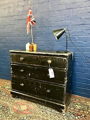 19th Century Victorian Black Painted Pine Chest Of Drawers