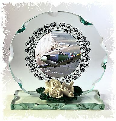 Spitfire Photo Glass Round Creative Plaque Memorabilia Limited Edition #4