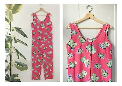 Vintage French Floral Cotton Jumpsuit Romper Dungarees Pink Country Flowers 8 10
