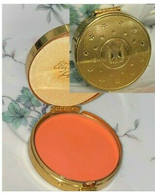 Vintage Elizabeth Arden Make-Up Cheek Rouge Blush Gold Metal Compact Canary Red